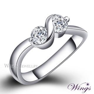 【WINGS】戀戀心語 八心八箭閃耀方晶鋯石精鍍白K金戒指(女戒 擬真鑽)