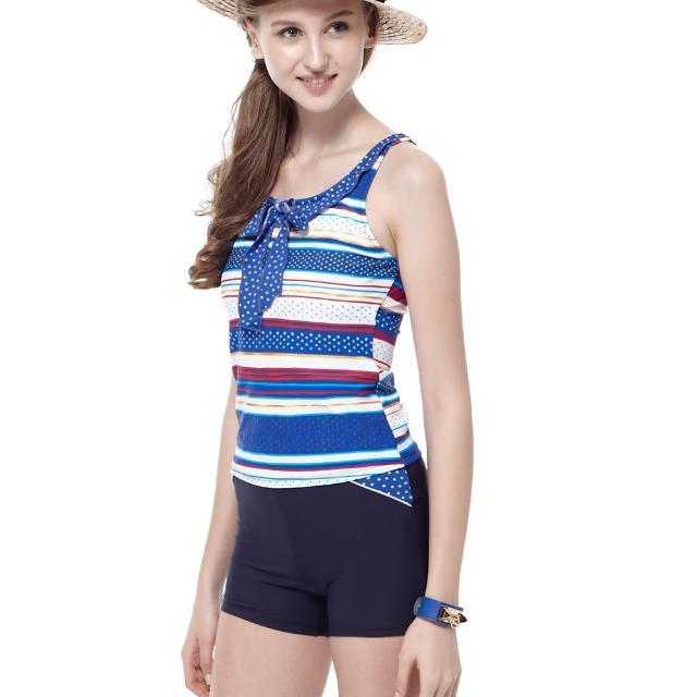 【真心勸敗】MOMO購物網【聖手牌】兩件式橫紋二截式女泳裝(A82419)評價momo 購物 momo 購物