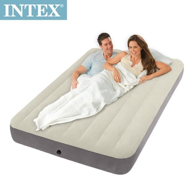 【網購】MOMO購物網【INTEX】新型氣柱-雙人植絨充氣床墊(寬137cm)評價好嗎momo 500