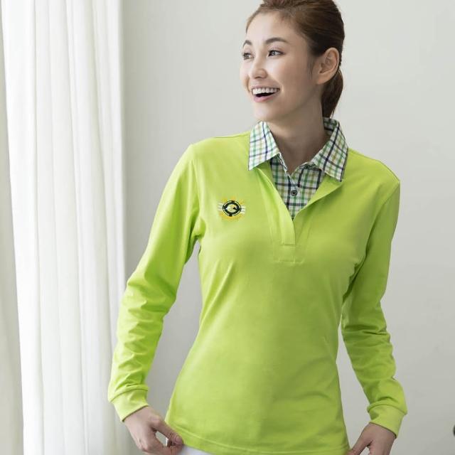 【好物推薦】MOMO購物網【LEIDOOE】蘋果綠格紋領女款休閒長袖POLO衫(53281)效果momo購物網站電話