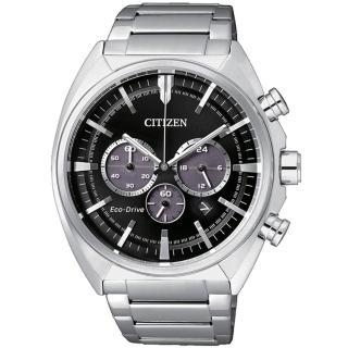 【CITIZEN】三眼光動能時尚簡約計時腕錶-黑x銀(CA4280-53E)