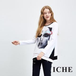 【ICHE 衣哲】相片印花拼接長版造型上衣