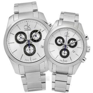 【Calvin Klein】時尚都會三環計時不鏽鋼對錶 銀色 45mm+39mm(K0K27120.K0K28120)