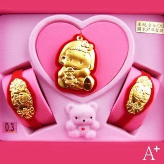 【A+】小公主彌月金飾套組31730(0.3錢)