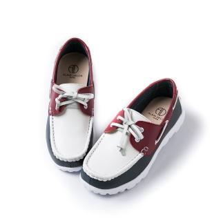 【ALAIN DELON】經典撞色真皮綁帶帆船鞋A75207(3色咖啡色白色 磚紅色)