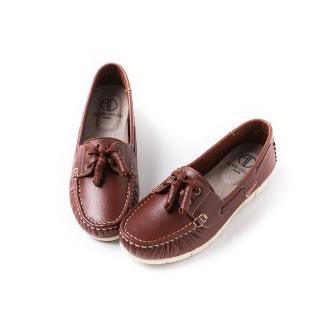 【ALAIN DELON】真皮綁帶帆船鞋A76105(4色 藍色 桔色 棕色紅色)