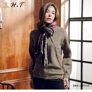【玄太】簡約寬鬆造型織紋圓領毛衣(墨綠)
