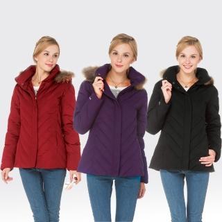 【SAMLIX山力士】JIS90%女歐風時尚防潑水羽絨外套#37912(黑色.紫色.紅色)