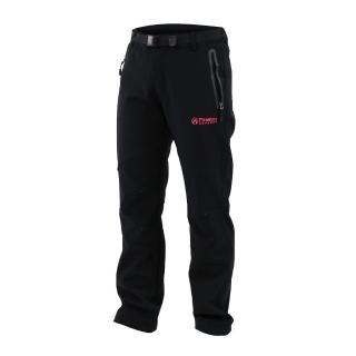 【FIRESTAR】女彈性平織磨毛內裏長褲-風褲 保暖 防風 防潑水(黑灰)