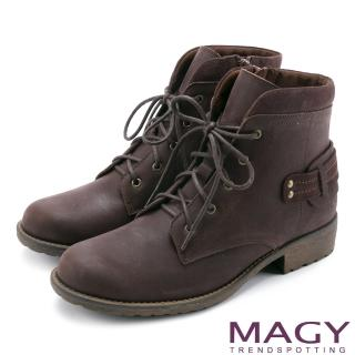 【MAGY】街頭率性簡約 嚴選牛皮帥氣綁帶短靴(咖啡)