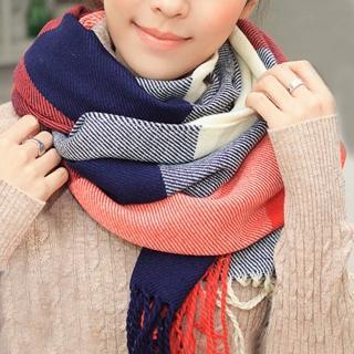 【幸福揚邑】羊絨質感格紋保暖圍巾/披肩(棗紅藍格)