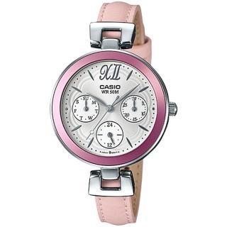 【CASIO 卡西歐】氣質首選_皮革錶帶_礦物玻璃_生活防水_三眼顯示_指針女錶(LTP-E407L)