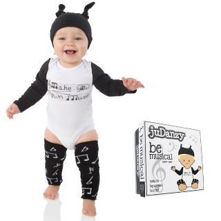 【美國 juDanzy】三件式禮盒組_包屁衣+帽子與襪套_音樂飛揚(Z058)