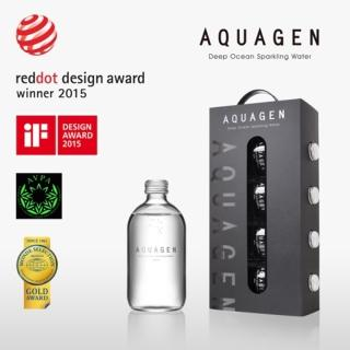 【AQUAGEN】海洋深層氣泡水精裝手提禮盒4瓶入(獲iF設計獎x紅點設計獎!)