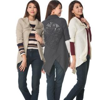 【RH】手?u編織造型五分袖針織外套