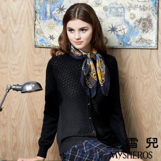 【蜜雪兒mysheros】圓領羊毛微鏤空針織上衣(黑)