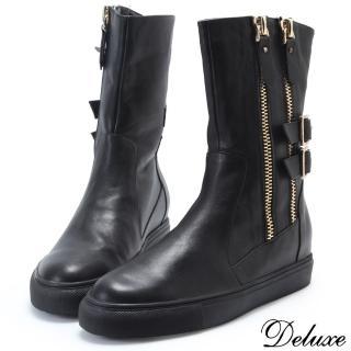 【Deluxe】全真皮個性街頭金屬扣環雙拉鍊厚底中筒靴(黑)