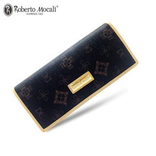 【Roberto Mocali 諾貝兔】時尚優雅黑金皮夾系列幸運草壓紋暗扣兩折式長夾