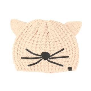 【KARL LAGERFELD】時尚話題貓咪毛線帽(貝殼色)