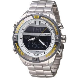 【ALBA 雅柏】活力型男玩轉雙顯計時腕錶(N021-X003Y 銀 AZ4019X1)