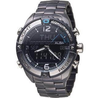 【ALBA 雅柏】活力型男玩轉雙顯計時腕錶(N021-X002SD 黑 AZ4015X1)