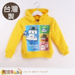 【魔法Baby】兒童帽T 台灣製POLI正版厚磅暖絨連帽T恤(k60309)
