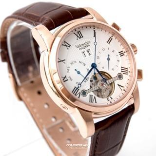 【范倫鐵諾.古柏】精密鏤空自動上鍊機械皮革手錶腕錶 玫瑰金羅馬數字