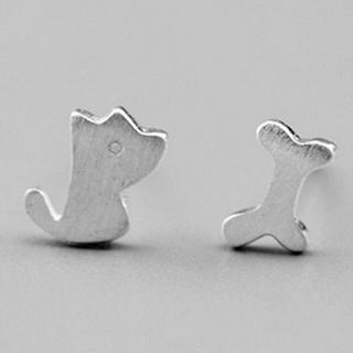 【米蘭精品】耳環流行銀飾品耳針式耳飾(韓版簡約小狗與骨頭時尚母親節生日情人節禮物73ag39)