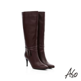 【A.S.O】保暖靴 真皮流蘇綴飾細跟長靴(咖啡)