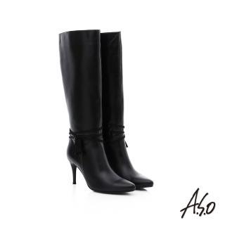 【A.S.O】保暖靴 真皮流蘇綴飾細跟長靴(黑)