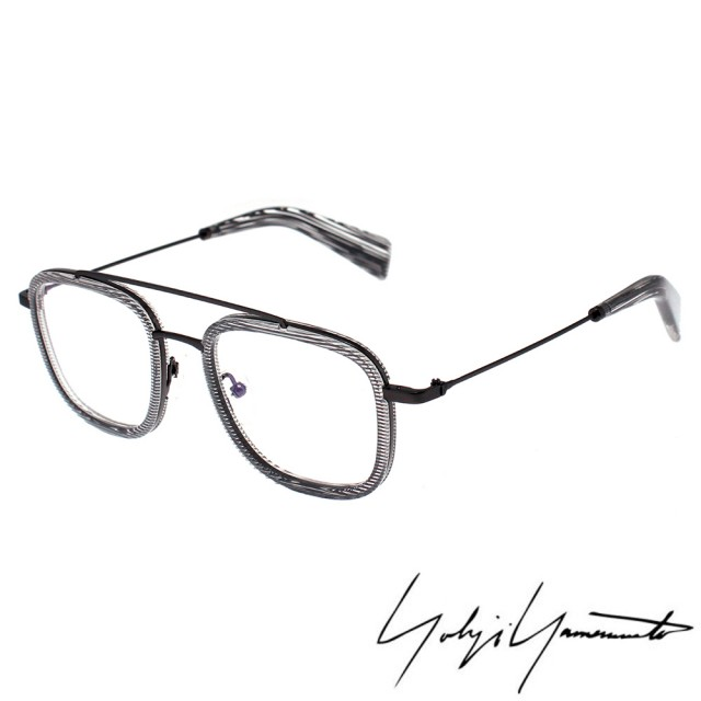 【Yohji Yamamoto 山本耀司】gwn-q1000mc-1a方型時尚前衛光學眼鏡(透明灰-YY1026-950)