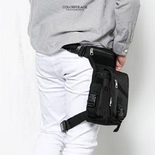 重機包 時尚全黑造型運動風腿包 防潑水設計 多夾層收納空間(玖飾時尚)