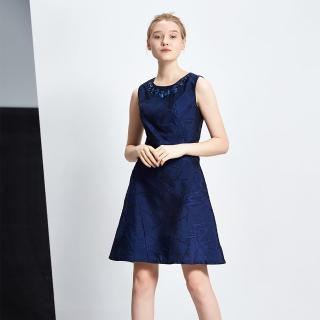 【ICHE 衣哲】立體提花絲質釘珠造型禮服洋裝