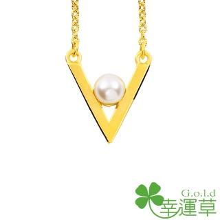 【幸運草clover gold】零距離 水晶珍珠+黃金 鎖骨鍊墜
