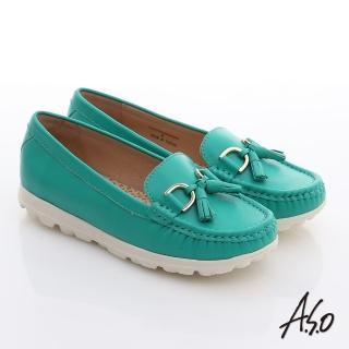 【A.S.O】抗震美型 牛皮拼布綁帶奈米休閒鞋(藍)