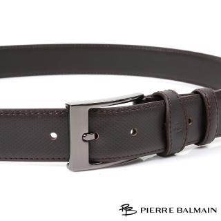 【PB-皮爾帕門】雙車邊格菱 頭層牛皮休閒針扣皮帶(500)