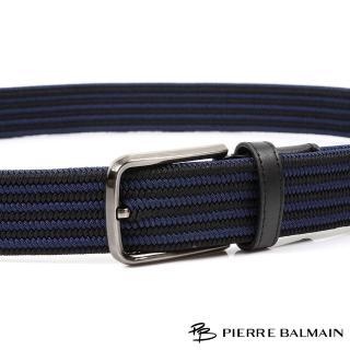 【PB-皮爾帕門】雙藍直條紋 雙層彈力休閒針扣配頭層牛皮帶(500)
