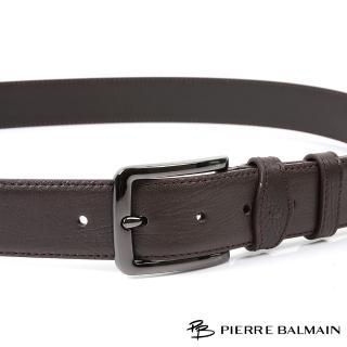 【PB-皮爾帕門】雙車邊細緻紋 頭層牛皮休閒針扣皮帶(500)