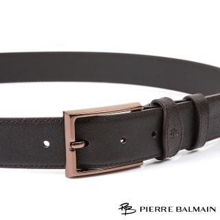 【PB-皮爾帕門】雙車邊咖啡金 頭層牛皮休閒針扣皮帶(500)
