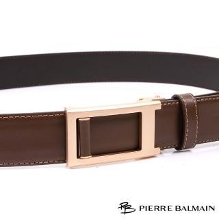 【PB-皮爾帕門】雙車邊土豪金 頭層牛皮紳士自動扣皮帶(500)