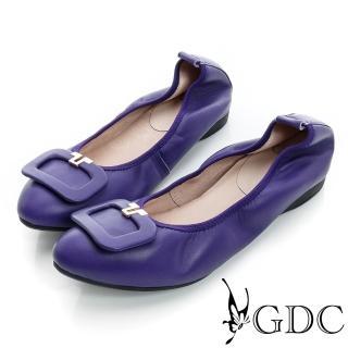 【GDC】都會-方形飾扣柔軟彈性真皮低跟鞋-紫色(624864)