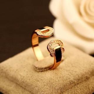 【米蘭精品】玫瑰金戒指鑲鑽流行飾品(精美簡約大方個性七夕情人節生日禮物73by6)