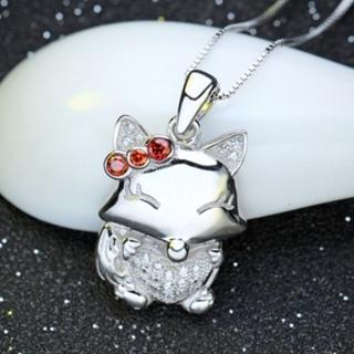 【米蘭精品】項鍊鑲鑽流行銀飾品(獨特可愛狐狸母親節情人節生日禮物73am126)