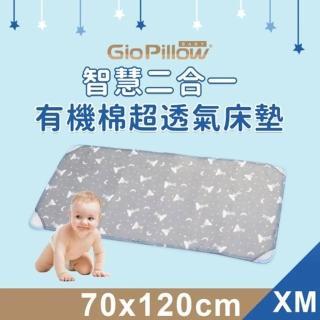 【GIO Pillow】智慧二合一有機棉超透氣嬰兒床墊 XM號(透氣 床套可拆卸 可水洗 防蹣)