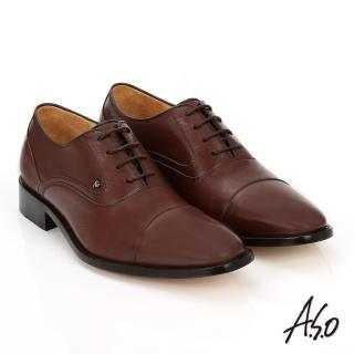 【A.S.O】尊榮青紳 牛皮綁帶紳士皮鞋(茶)
