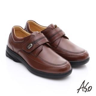 【A.S.O】超能耐 綿羊皮奈米氣墊休閒皮鞋(茶)