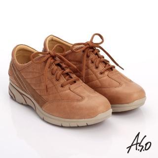 【A.S.O】紓壓耐走 簡約牛皮縫線拼接奈米休閒鞋(茶)