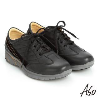 【A.S.O】紓壓耐走 簡約牛皮縫線拼接奈米休閒鞋(黑)