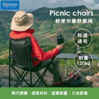 【Horizon 天際線】戶外輕便折疊野餐椅(4色任選)