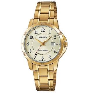 【CASIO】經典淑女時裝時尚金數字指針腕錶(LTP-V004G-9B)